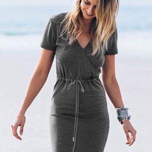 Women's Short Sleeve Maxi Dress w pockets